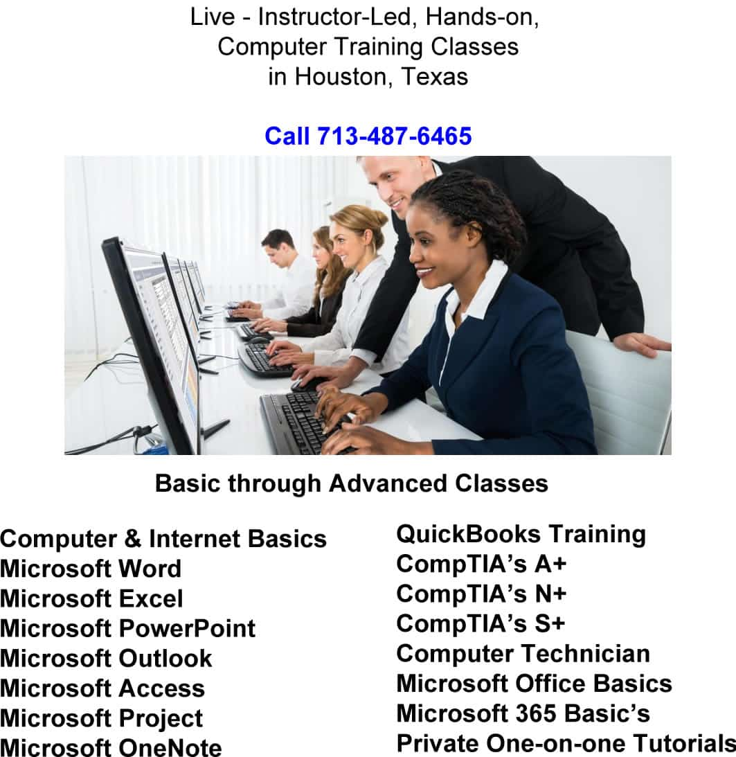 Microsoft Excel Class in Houston - Instructor-led Training & Step-By-Step Class